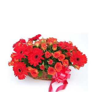 Basket of Gerberas n Rosess