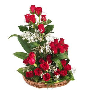 Hand Basket of 25 Red Roses