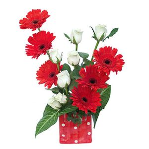 Gerberas n Roses in Glass Vase