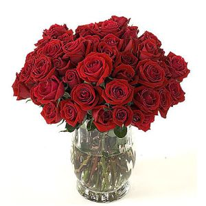 30 Red Roses in a Glass Vase