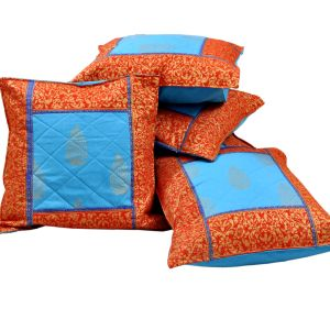 Jaipuri Gold Print Cotton Cushion Cover Set