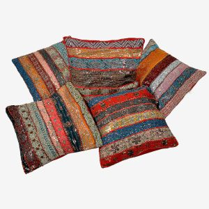 Fine Colorful Patchwork Cushion Cover 5 Pc Set