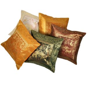 Multi -color Brocade Cushion Cover 5 Pc. Set