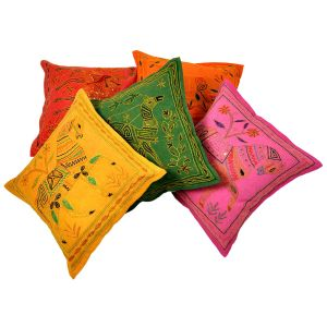 Fine Embroidered Cotton Cushion Cover 5Pc. Set