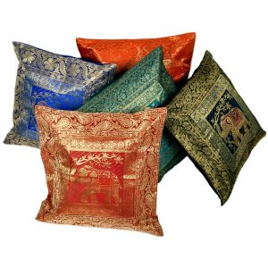 Multi -color Brocade Cushion Covers 5 Pc. Set
