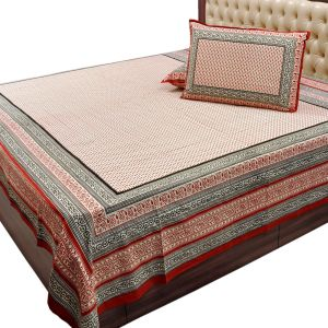 Jaipuri Cotton Double Bed Sheet Pillow Covers
