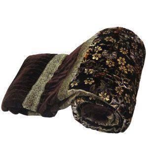 Jaipuri Floral Brown Double Bed  Velvet Quilt