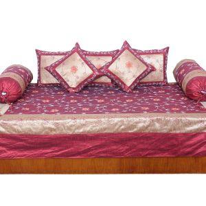 Designer 8 Piece Golden Maroon Silk Dewan Set