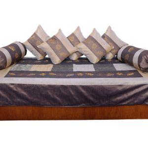 Jaipuri 8 Piece Silk Cushion Bolster Dewan Set