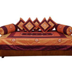 Orange Maroon Dewan Cushion Bolster 8 Pc. Set