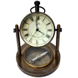 Decorative Clock and Compass Brass Handicraft