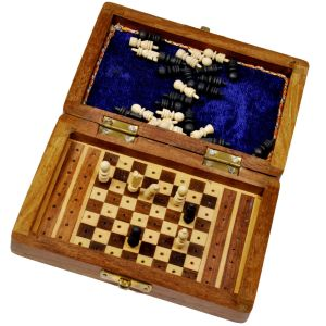 Travellers Mini Chess Board Wooden Handicraft