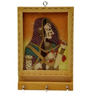 Rajasthani Gemstone Painting Key Holder Gift