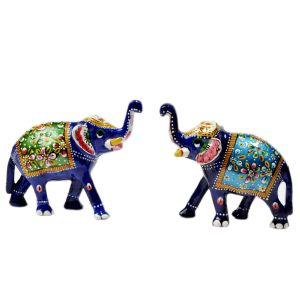 Enamel Work Pure Brass Elephant Pair Gift