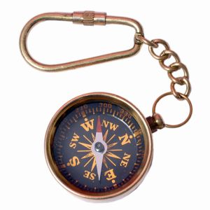 Antique Brass Handcrafted Compass in Keychain