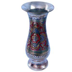 Colorful Meenakari Work Flower Vase Pure Metal