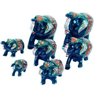 Handmade Paper Mache Work 7 Piece Elephant Set