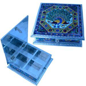 White Metal Pure Meenakari Work Dry Fruit Box