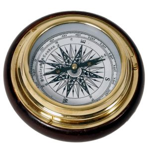 Wood n Brass Real Nautical Compass Handicraft