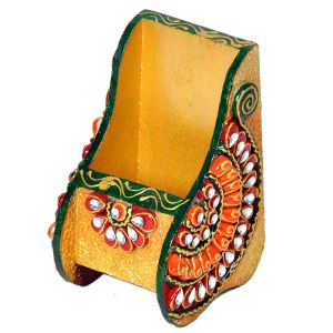 Beautiful Kundan Meenakari Wooden Mobile Stand