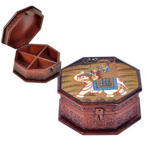 Hand Painted Hexagonal Wooden Art Jewelry Box