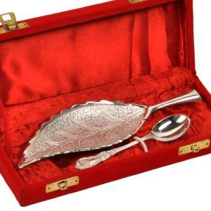 Silver Polished Leaf Shape Brass Freshener Set