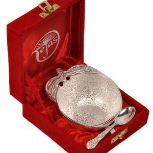 Silver Polished Apple Shape Brass Bowl n Spoon