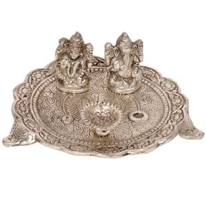 White Metal Lord Laxmi Ganesh With Dia Thali