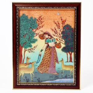 Sitar Playing Meera With Dears Wooden Painting