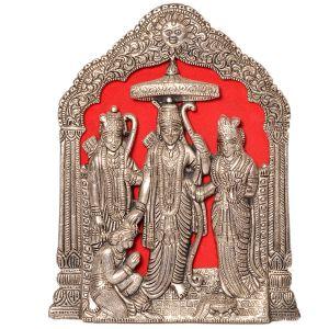 Antique Lord Ram Darbar Idol in White Metal