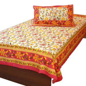 Floral Gold Designer Single Bed Sheet Pillow