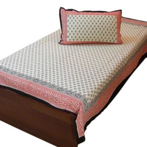 Jaipur Cotton Single Bed Sheet with Pillow
