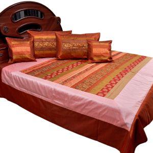 Stripe Brocade Silk Double BedCover CushionSet