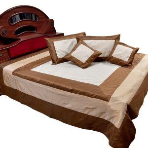 5 Piece Jaipuri Brown Silk Double BedCover Set