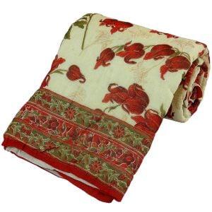Floral Handblock Cotton Single Bed Razai Quilt