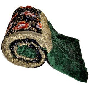Jaipuri Green Floral Single Bed  Velvet Quilt