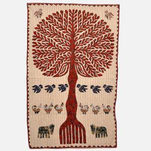 Colourful Handmade Cloth Tree Wall Hanging
