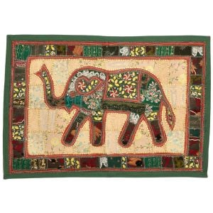 Applique Rich Embroidery Elephant Wall Hanging