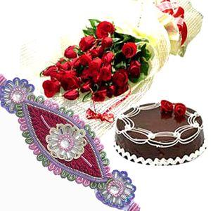 Rakhi with Roses n Cake