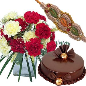 Rakhi with Carnations n Chocolate Cake