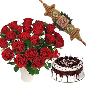 Rakhi with Roses n Black Forest Cake