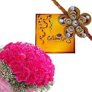 Rakhi Carnations n Celebration Choco