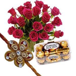 Pink Roses with Ferrero Rocher n Rakhi