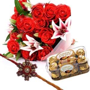Roses Lilies with Rakhi n Chocolates