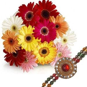Multi Color Gerberas and Rakhi
