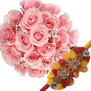Pink Roses Bunch n Rakhi