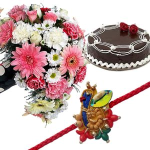 Mix Color Carnations with Cake n Rakhi