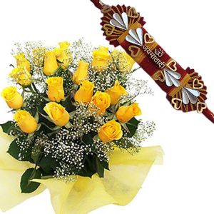 Yellow Roses Bunch with Rakhi