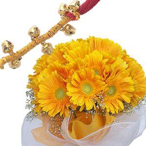 Rakhi with Yellow Gerberas