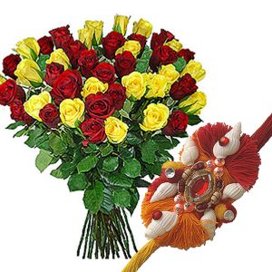 Red and Yellow Roses Bunch with Rakhi